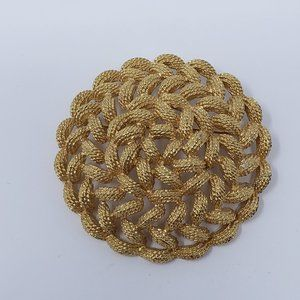 Monet Gold Tone Braided Rope Round Brooch Pin
